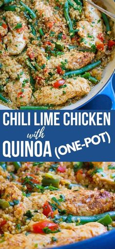 One Pot Chili Lime Chicken with Quinoa…Healthy, delicious weeknight recipe with almost no clean-up. Bliss! 375 calories and 7 Weight Watchers SP | And quinoa | Gluten free | Recipes | Dinner | Meals easy | Meals healthy #onepotmeal #onepotdinner #weightwatchers #chickenrecipes #quinoarecipes Gluten Free Recipes For Dinner, Easy Dinner Recipes, Easy Meals, Dinner Ideas, Easy Chicken Recipes, Asian Recipes, Quinoa Gluten Free, Chili Lime Chicken, Tasty Bread Recipe