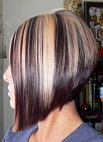 short hairstyle inverted bob with blonde and brown highlights