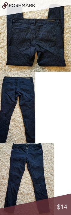 Express dark blue black aligator print skinny jean These jeans have been worn but are in excellent condition.  The waist measures at 17 inches across, there is an 8 inch rise and the inseam is 30 inches. Express Jeans Skinny