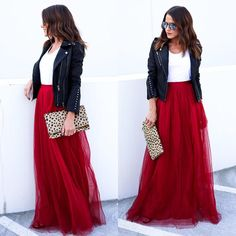 #fall #outfits long red skirt tank top leather jacket handbag