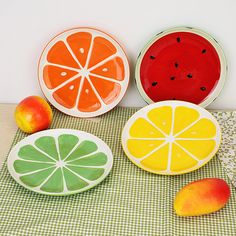 Lovely Hand Painted Plate Fruit Watermelon Lemon Ceramic Plate Creative Tableware at Banggood Fruit Box, Fruit Plate, Pottery Painting Designs, Pottery Designs, Ceramic Painting, Diy Painting, Ceramic Bowls, Ceramic Pottery, Watermelon And Lemon