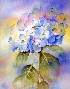 Blue Hydrangea Matted Watercolor Print Fine Art por ConnieTownsArt