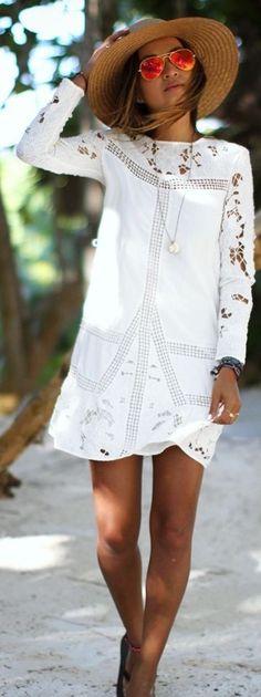 #summer #boho #style #outfitideas |White Crochet Boho Little Dress