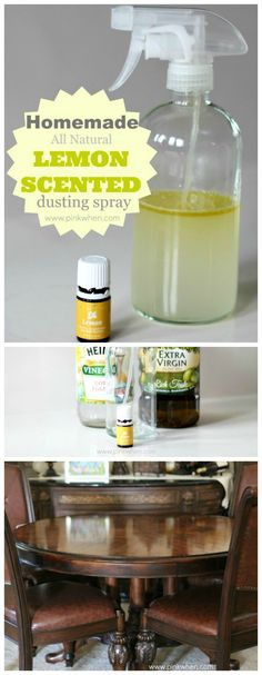 Homemade Lemon Scented Dusting spray - works so well and smells so good! www.pinkwhen.com