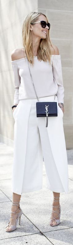 classic look for fall, off the shoulder top tucked into wide leg capris, YSL crossbody bag