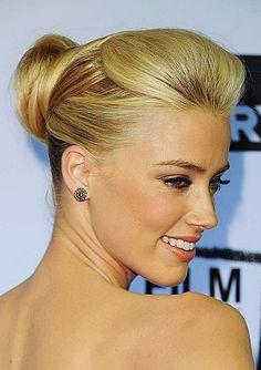 Amber Heard bun updo