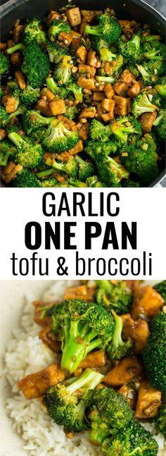 Garlic tofu broccoli skillet recipe #tofu #stirfry #vegan