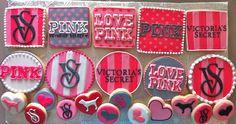 Victoria's Secret Cookie Set! - HayleyCakes And Cookies Pink Cookies, Pink Cupcakes, Cupcake Cookies, Valentine Cookies, Royal Icing Cookies, Birthday Frames, Pink Birthday, Sweet 16 Birthday, 14th Birthday