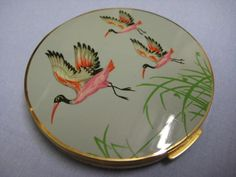 STUNNING VINTAGE BRASS AND ENAMEL STRATTON POWDER COMPACT