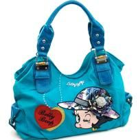 Large Betty Boop® shoulder bag with rhinestone brooch accent - Turquoise - FREE SHIPPING