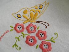 Vintage Linen Tablecloth Hand Embroidered Butterflies Deco Style