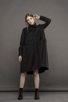 af63c58ab81 Babydoll dress   Formal dress   Dress   Black dress   Shirt dress   Aesthetic  clothing   Midi dress   Gift for her   Plus size   Goth dress