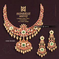 Gemstone Jewelry, Diy Jewelry, Gold Jewelry, Jewelry Design, Temple Jewellery, Bridal Jewellery, Wedding Jewelry, Bridal Silk Saree, Tourmaline Stone