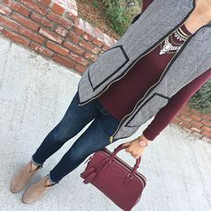 Petite Indigo Skinny Ankle Jean, burgundy long sleeve tee, Herringbone Puffer Vest, Thea double zip satchel, Franell western booties, fall outfit, winter outfit, casual outfit, petite clothes fashion - click the photo for outfit details!