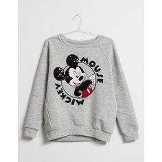BSK Mickey embroidered sequinned sweatshirt - Bershka Recommends -... ($33) ❤ liked on Polyvore featuring tops, hoodies y sweatshirts