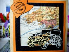 Tattered Lace Vintage car die.  Father's Day Card.  Cut from old atlas.