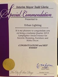 Special Commendation from the Mayor of San Diego 2013 Best shopping Home décor in the Gaslamp. San Diego, Urban, Personalized Items, Shopping
