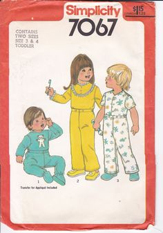FREE US SHIP Simplicity 7067 Boy Girls Toddler Pajamas Pj's Snap Feet Footed 2pc Uncut Size 3 4 Bear Transfer by LanetzLiving on Etsy