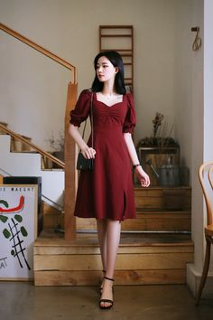 Simple Long Dress, Simple Dresses, Elegant Dresses, Cute Dresses, Short Dresses, Korean Dress, Korean Outfits, Asian Prom Dress, Evening Outfits