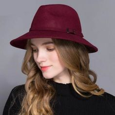 Fashion wide brim fedora hat with Leather buckle for winter