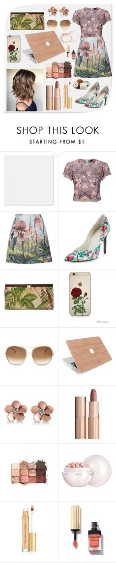 """""""Floral outfit 🙈"""" by pmicla ❤ liked on Polyvore featuring Needle & Thread, ADAM, Stuart Weitzman, Patricia Nash, Chloé, Allurez, Charlotte Tilbury, tarte, Guerlain and Kevyn Aucoin"""