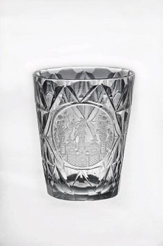 Europe, drinking glass, cut and engraved, 18th c, side 1