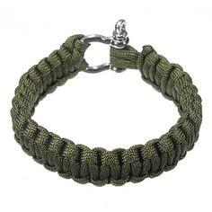 SODIAL(R) 7 Strand Supervivencia Militar pulsera de la cuerda de la armadura de la hebilla - lineas Fishbone Verde