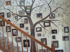 Family tree wall mural for stairwell