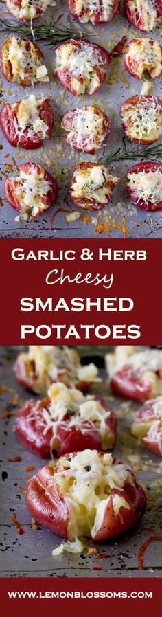 These Garlic & Herb Cheesy Smashed Roasted Potatoes are soft and creamy on the inside and crispy golden on the outside with a garlic and herb butter smashed in. To top it all, cheese! Yummy, gooey, melted cheese!! These are perfect as a side dish or as an appetizer.