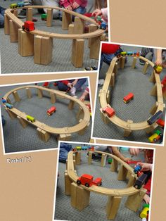 "Balancing the train track from Rachel ("",) Eyfs Activities, Nursery Activities, Train Activities, Toddler Activities, Pre School Activities, Block Center, Block Area, Block Play, Transportation Theme"