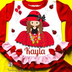Little Bug Girl Red Pajama! Personalized