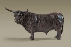 Bronze sculpture by sculptor Alison Murray Wells titled: 'Highland Bull (Little Bronze Highland Cattle statue statuette sculpture)