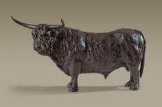 Bronze sculpture by sculptor Alison Murray Wells titled: 'Highland Bull (Little Bronze Highland Cattle statue statuette sculpture)
