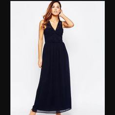 Maxi Boohoo Marino Lunghi Ruched Plunge Blu Slinky Dress erCodxB