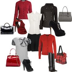 black skirt, white ruffled shirt, striped top, red cardigan, peacoat