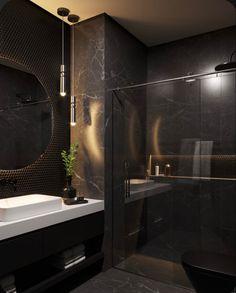 Black Tile Bathrooms, Dream Bathrooms, Black Marble Bathroom, Black Bedroom Design, Bathroom Design Luxury, Bathroom Design Inspiration, Behance, Black Luxury, Houses
