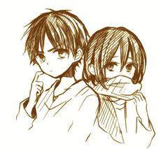 Eren and Mikasa - Attack on Titan - Shingeki no Kyojin Mikasa X Eren, Armin, Mikasa Chibi, Attack On Titan Ships, Attack On Titan Anime, Cosplay Meme, Drawing Sketches, Drawings, Eremika
