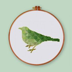 Geometric Bird cross stitch pattern Modern bird by ThuHaDesign