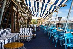 Café del Mar Sydney Rooftop Terrace of Cockle Bay Wharf, 201 Sussex Street, Sydney Sydney Restaurants, Outdoor Restaurant, Restaurant Bar, Bali, Best Rooftop Bars, Outdoor Furniture Sets, Outdoor Decor, Outdoor Bars, Outdoor Living