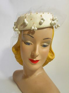 Berry Trimmed 1960s Bridal Hat