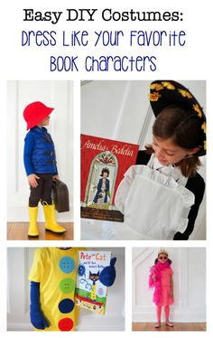 DIY Costumes Inspired By Favorite Book Characters - The Chirping Moms Kids Book Character Costumes, Children's Book Characters, Character Outfits, Pete The Cat Costume, Bear Costume, Paddington Bear Books, Red Bucket Hat, Yellow Rain Boots, Pink Tights