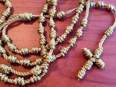 Gold Knotted Cord Rosary by georgiegirl83 on Etsy, $10.00