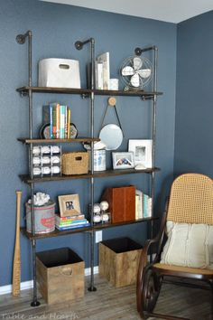 industrial shelves with boxes