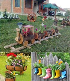If you want some unique and ingenious planter ideas for your garden then you are at the right place. View these planter ideas and get inspired: 1. Upcycled Wine Barrel Planters Image Sources: sociedadsecretadelhaijin , centsationalgirl 2. Log Planter Train Image Source: prakticideas 3. Rain Boots Planters Image