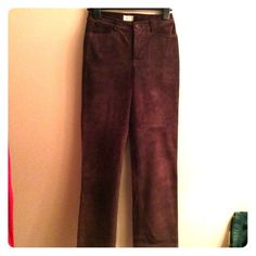 """Gap Chocolate Brown Suede Leather Pants Lined 4 EC Fully lined in 100% polyester, 100% leather pants in excellent condition. Dark, chocolate brown. Have only been worn a few times. Waist lying flat across is 14.5, hips 17.5"""", inseam 29"""".  I have TONS more high end & designer items to list so please check out rest of my stuff! The more you buy, the better the deal! Thanks for looking! GAP Pants"""