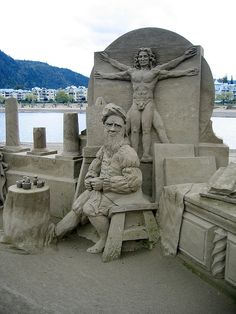 sand sculpture of DaVinci in his studio (with Vitruvian Man) ... Harrison Sand Sculpture Championships by bryanh, via Flickr