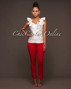 Chic Couture Online - Mirlene Off-White Ruffle Neck High-Shine Top, $40.00 (http://www.chiccoutureonline.com/mirlene-off-white-ruffle-neck-high-shine-top/)