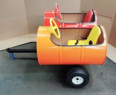 55 gallon double barrel car I just completed. Barrel Train, Best Wagons, Kids Wagon, Go Kart Plans, Trains For Sale, Barrel Projects, Bouncy House, Horseshoe Projects, Farm Plans