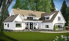 Plan Modern Farmhouse with Vaulted Master Suite Step across a ten foot deep front porch to Farmhouse Floor Plans, Farmhouse Flooring, Modern Farmhouse Exterior, Modern Farmhouse Style, Farmhouse Design, Farmhouse Office, Farmhouse Interior, Country Farmhouse, Farmhouse Table