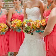 virginia beach, va, wedding, norfolk, coral, yellow, green, bride, wedding party, amandamanupella.com